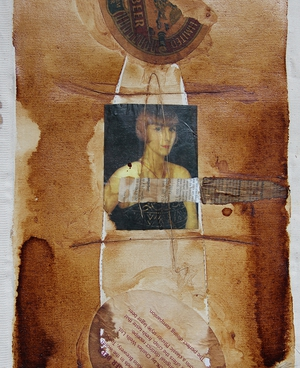 Coffee Collage on cotton | 30cm x 20cm | 1999