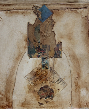 Coffee Collage on cotton | 33cm x 30cm | 1996